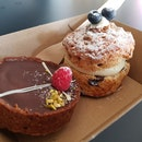 Chocolate Raspberry Tart & Creamcheese Scone (Both $12.4 Combined)