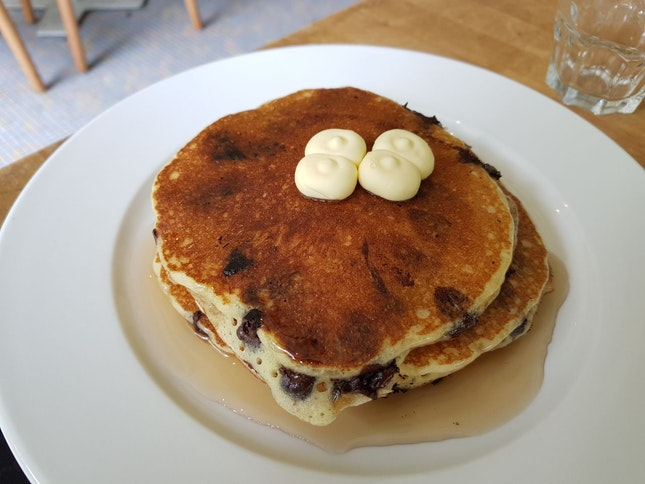 Chocolate chip Pancakes ($12)