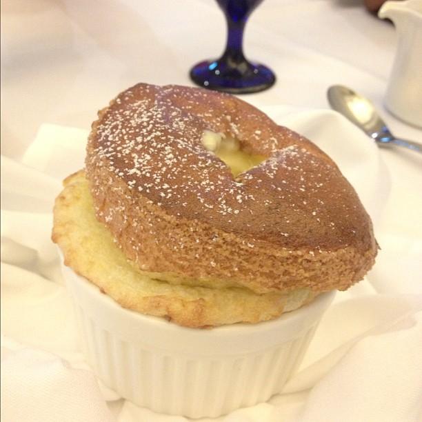 Grand marnier and polenta soufflé.