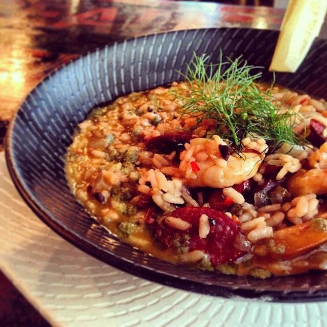 Risotto of Spicy Prawn & Chorizo #risotto #rice #italianfood #sgfood #foodporn