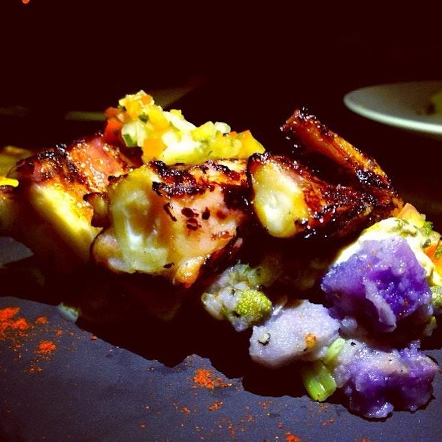 Grilled Octopus, Smoked Leeks & Tuna Mayo.
