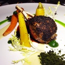 Rack of Lamb, Chicory Crust, Carrot, Fava, Truffle.