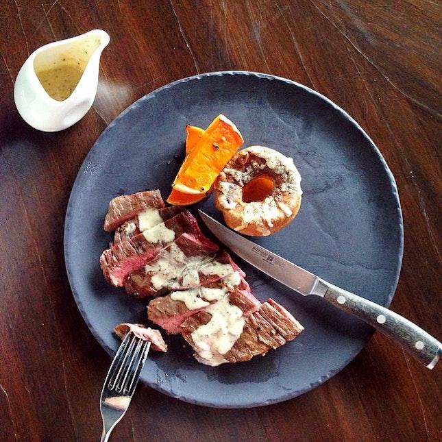 150-Day Grain-Finished Black Angus Skirt Steak with Gruyere Popover, Maple-Glazed Butternut Pumpkins & Pommery Mustard Sauce