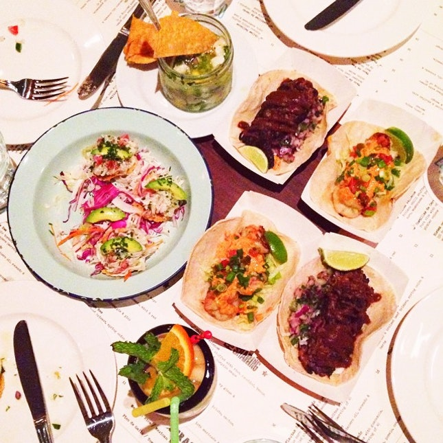 Crab Tostaditas, Mango & Snapper Ceviche, 2 x Chorizo & Braised Beef Brisket Tacos, 2 x Prawn Tacos