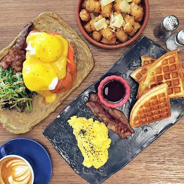 Eggs Benedict with Smoked Salmon & add-on Bacon, Truffle Tater Tots, Breakfast Waffle with Scrambled Eggs & Bacon