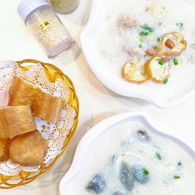 """Sam Pan"" Congee, Thousand-year Egg & Shredded Pork Congee"