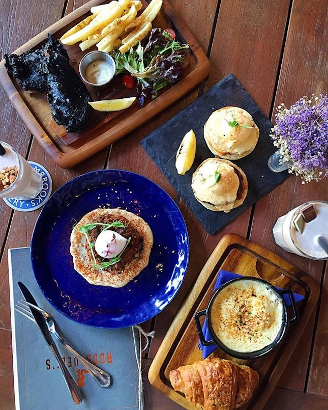 Squid Ink Fish & Chips, Beef Cheek on Potato Pancake, Truffle Potato Foam with Croissant, Crab Cake Benedict