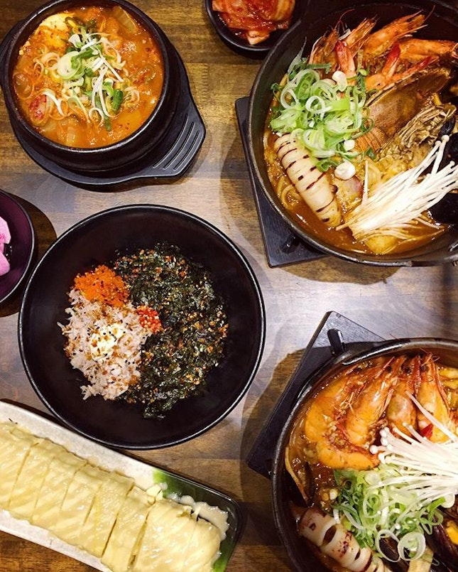 Spicy Seafood Stew, Spicy Seafood Stew with Beef, Honey Mustard Cheese Egg Roll, Crabmeat & Roe Rice Ball, Kimchi Beef Soup.