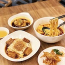La Mian with Scallion Oil served with Dong Po Pork Belly, Deep-Fried White Bait in Wuxi Style, La Mian with Poached Fish Fillet in Szechuan Spicy Soup, Chilled Poached Chicken in Szechuan Style.