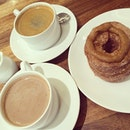 Twins time #wildflour #cronuts #dulcedeleche #hazelnut #hotchocolate #coffee #afternoontea #twins #twintuition #sisters