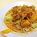 Curry noodles for only $4 :D #vegetarian #一心斋食 #chinatown #yum #curry