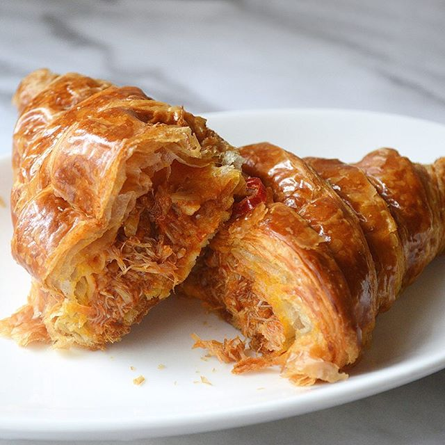 Chilli Crab Croissant - Spicy-sweet chilli crab filling enveloped in a flaky, buttery croissant.