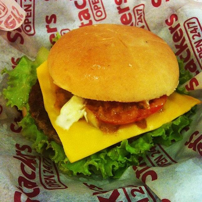 yummy merienda :) stackers cheese burger #burger #yummy