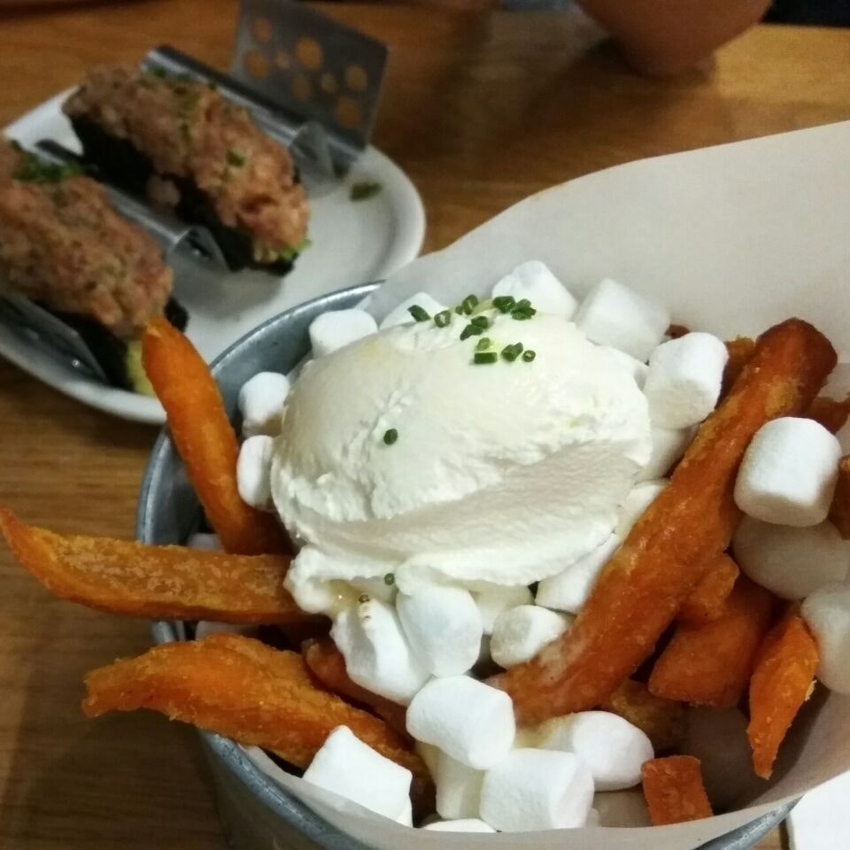 Wham Spam Fries With Sour Cream And Marshmallows