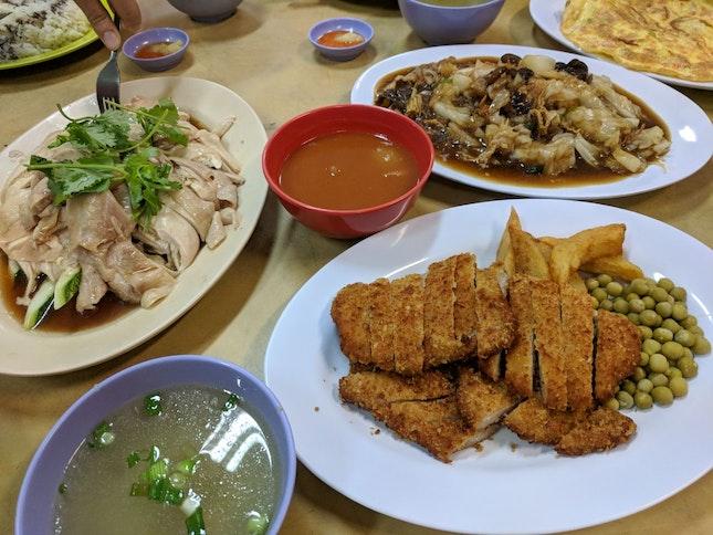 Hainanese Chicken Rice, Pork Chop, Chap Chye