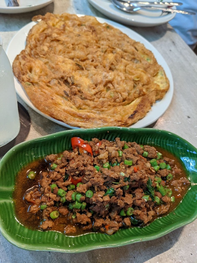 Egg Omelette And Basil Minced Meat