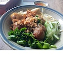 Dry Noodles With Grilled Pork And Spring Roll