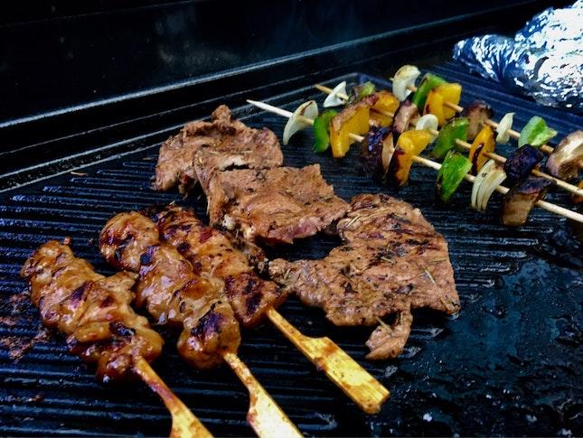 BBQ - Yakitori, Red Wine Steak, Skewered Vegetable