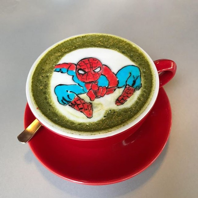 Catching up with Spidey over a hot cup of matcha latte.