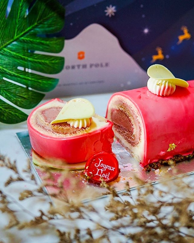 #Xmas2019 🎄 This Cocoa Bean Strawberry Log Cake (of moist genoise sponge, strawberry juice and strawberry inspiration cremeux, tucked under a vibrant red glaze) is one of the new festive creations and gourmet takeaways you'll find available at Shophouse, located at @ShangriLaSG Tower Wing Lobby.