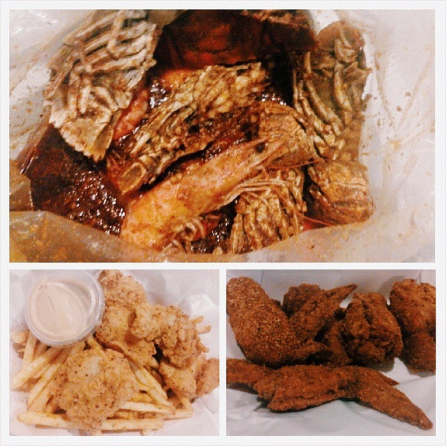 Crayfish, shrimp, fish n chip, Cajun chicken..