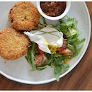 Chili Crab Croquette ($15) - Technically 2 crab cakes with a side of chili and salad.