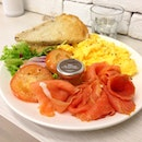 Salmon with scrambled eggs ($18): a hefty serving of smoked salmon.