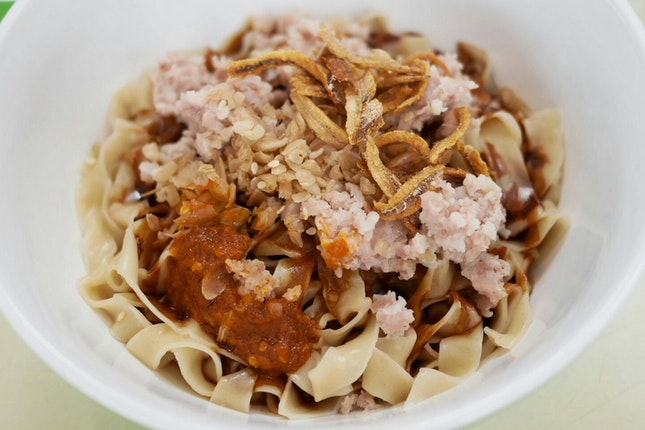 Unique Ban Mian with Chye Poh & Mei Cai