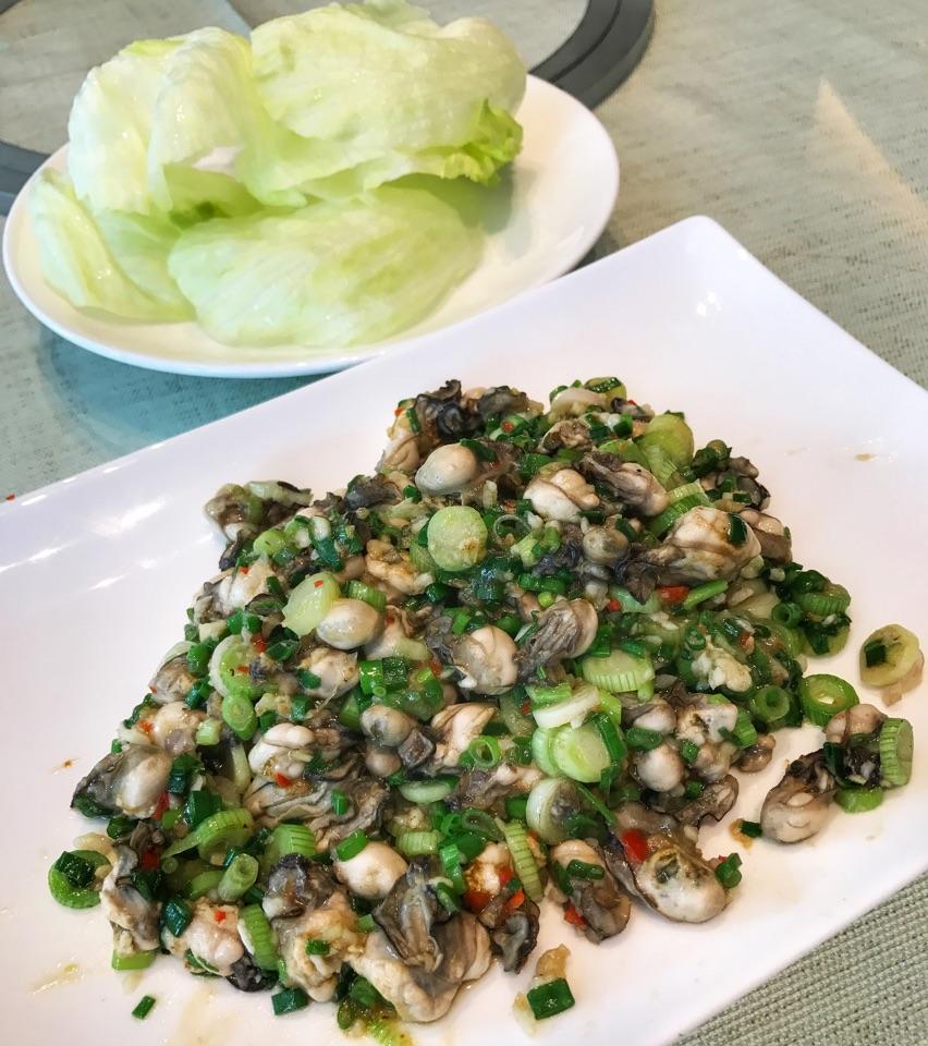 """Baby Oysters Stirfried wjth Spring Onion, Teochew Style"" (medium: $42++)"