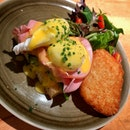 Egg Benedict on Wilted Spinach And Hash Brown