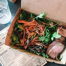 "Wish I had a better picture of this, but I gotta post it anyway because it was SO GOOD 😍 think I've found a new ""salad"" place, thanks @faithwxyz for accompanying me 🙆🏼 a generous portion of roast beef on a bed of rocket leaves, drizzled with the most delicious honey balsamic dressing, topped with forest mushrooms, pickled carrots and...see those black specks?"