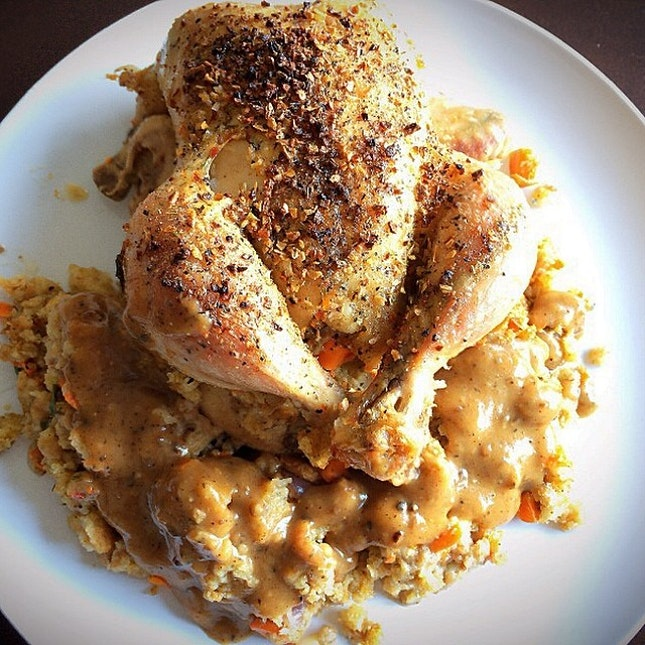 My awesome #gf made super #yummy #cornish #hen with #homemade #gravy and #stuffing for #dinner .
