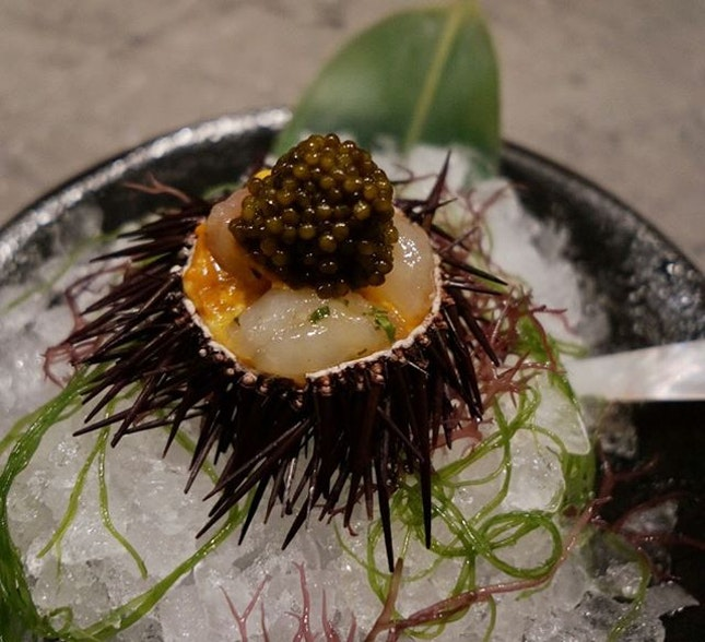 This amazing dish just melts in your mouth and it's sweetness just leaves you wanting more: Uni on the rocks 😍 with Marinated Botan shrimp and Oscietra caviar
