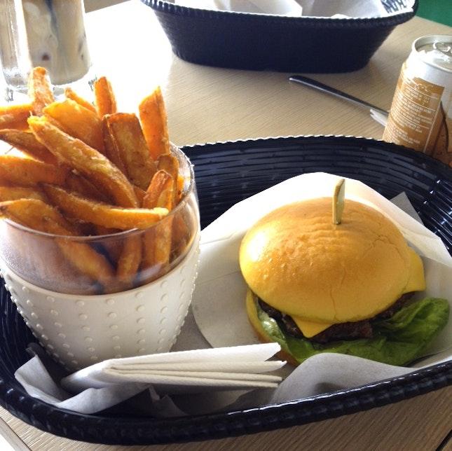 Omakase Burger & Sweet Potato Fries