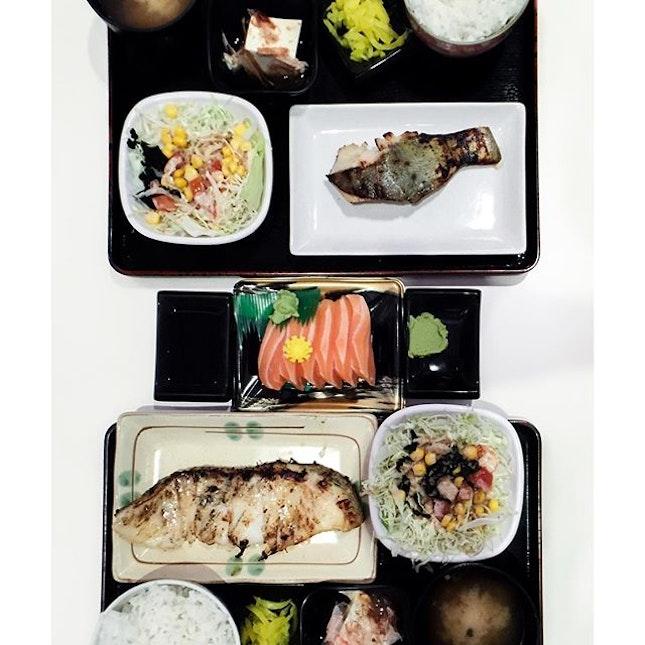 Top: Gin Hirashu Saikyo Set ($13.5) Middle: Salmon Sashimi ($8.5) Bottom: Mero Saikyo Set ($16.5) .