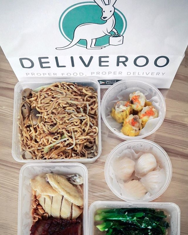 Office lunch today thanks to @deliveroo_sg!