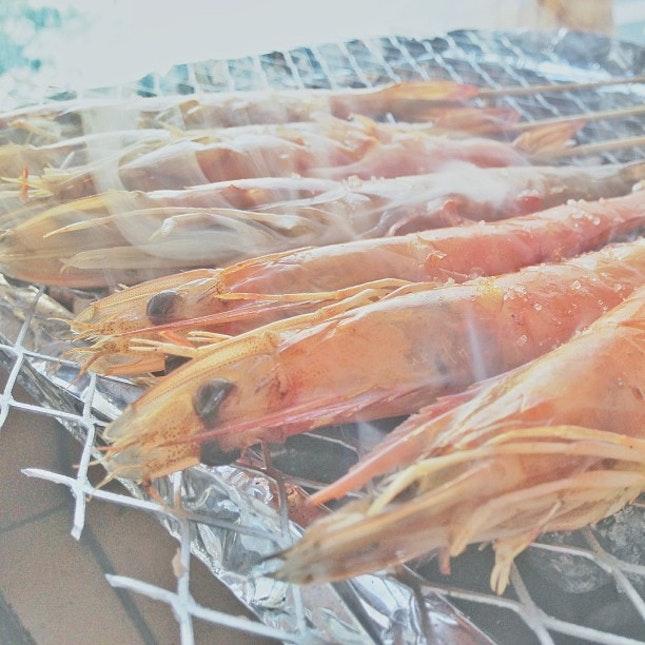 Smoke BBQ prawn.