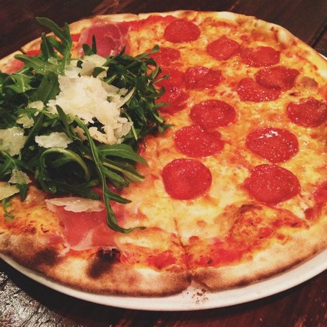 Prosciutto And Pepperoni Pizza