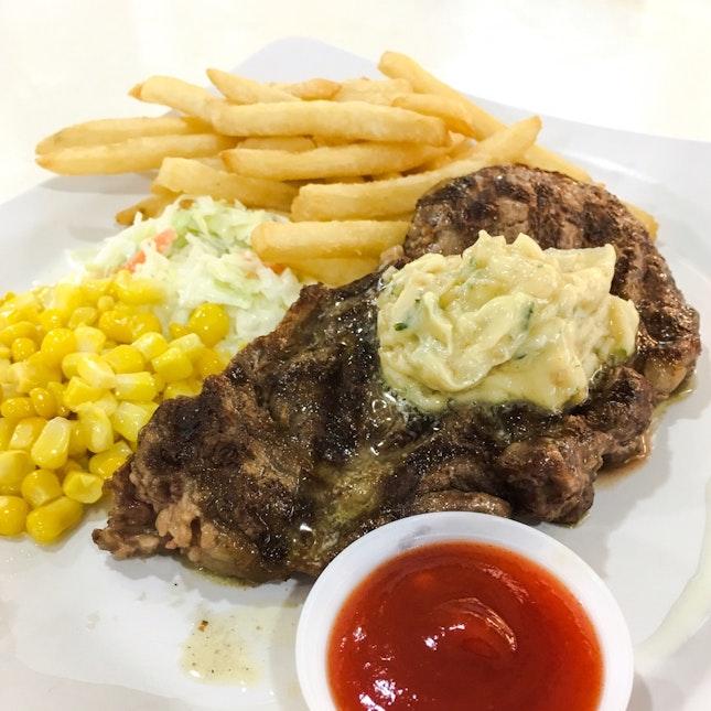 Ribeye Steak with Garlic Merlot Butter