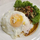 Basil Pork with Rice serve with Egg