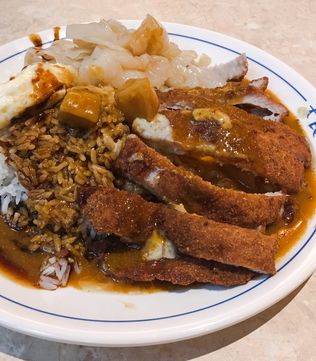 Cheesy Curry Pork Cutlet Set