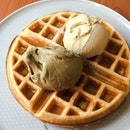 Waffles with Double Scoop — Houjicha and Pistachio Gelato