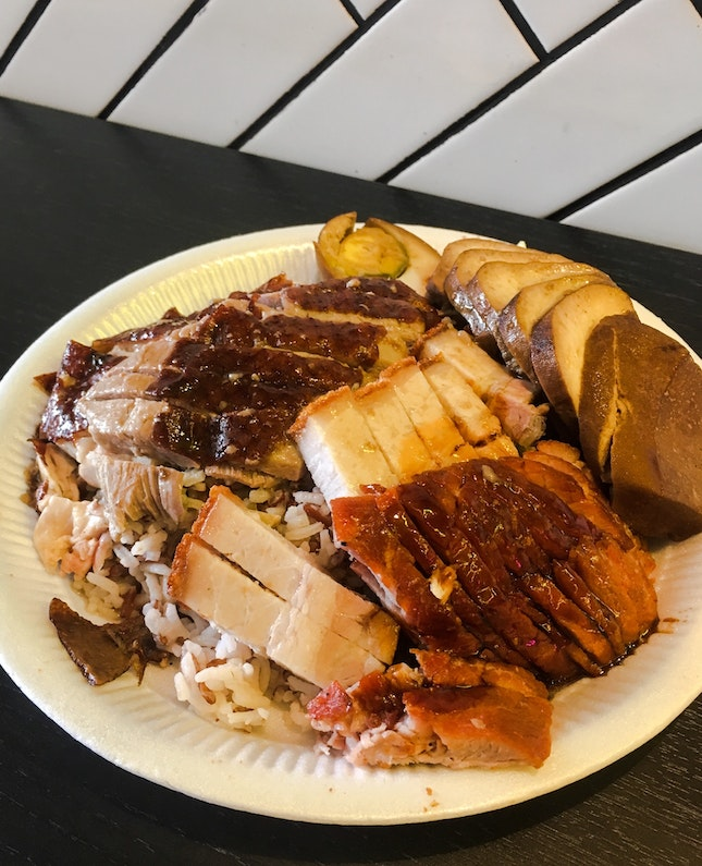 Paradise Bowl (Roasted Pork, Roasted Chicken, Roasted Duck, Char Siew with Brown Rice)