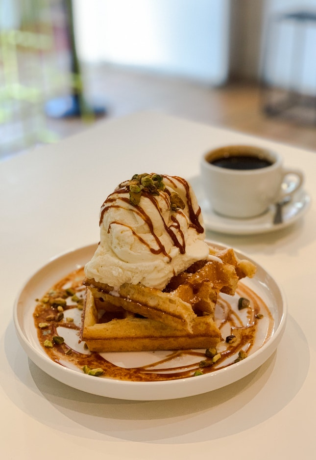 B&B Sourdough Waffle with Vanilla Ice-Cream