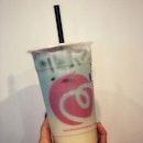 Moon river - [$4.90] 💙💙💙 - Honey green tea + Butterfly-pea flower tea 💚🌸🍵 • Think smooth taste of silky milk tea goodness.