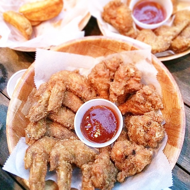 it's a sin to turn down Deep-Fried Chicken Wings, Potato Wedges (plus Pizza and Assorted Mushrooms not captured in this photo).