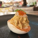 Deviled Eggs with Barramundi Brandade - the seemingly simple stuff speaks volumes .