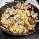 We had the clams linguine and fish and chips.