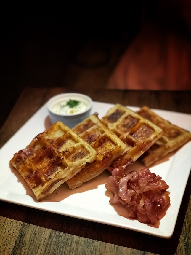 Cheddar Cheese Bacon Waffles ($19)