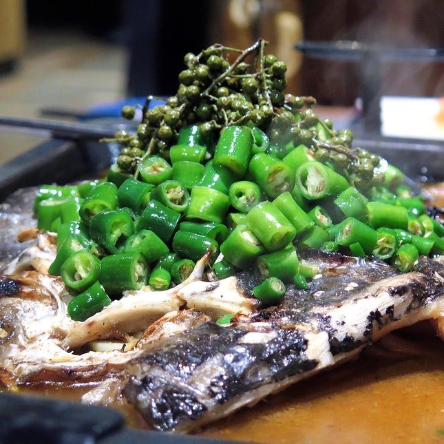 Grilled Fish with Green Pepper 鲜青椒烤鱼 - Limbo Fish 凌波鱼 [$39.90]